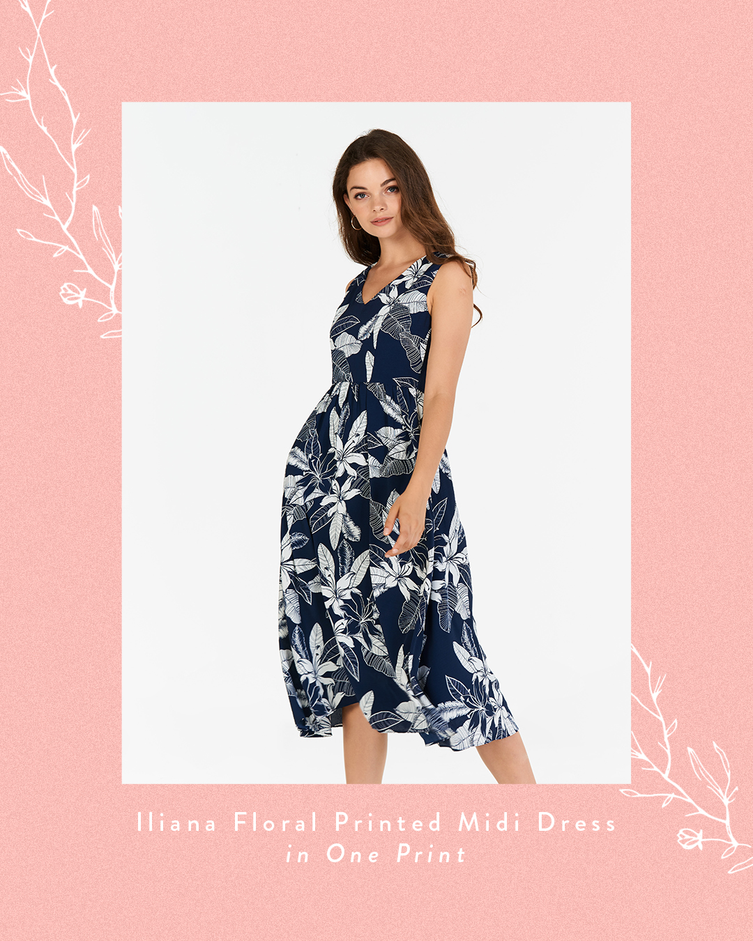 Iliana Floral Printed Midi Dress