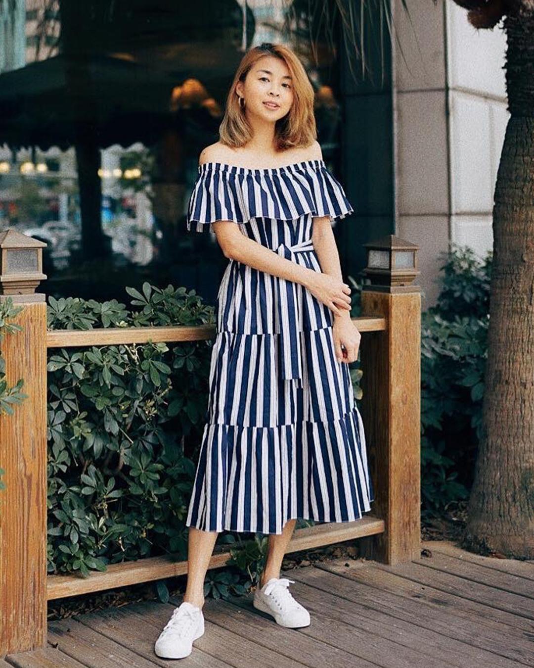 Ansley Stripes Midi Dress