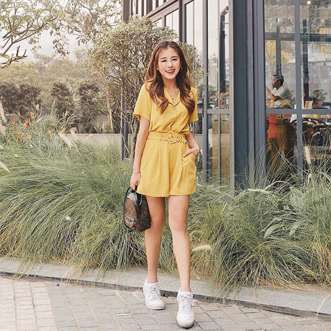 As seen on @kellytan1111 - Della Collared Top and Shorts in Mustard