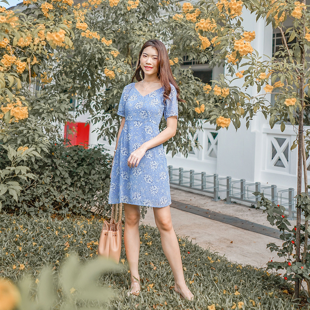AS SEEN ON @AUDREYXAUDREY - CASSA DRESS IN CORNFLOWER BLUE
