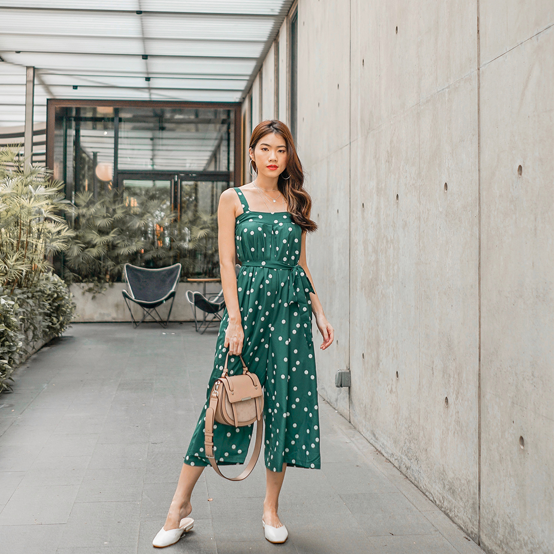 As seen on @audreyxaudrey - Kaytlyn Dotted Jumpsuit in Green
