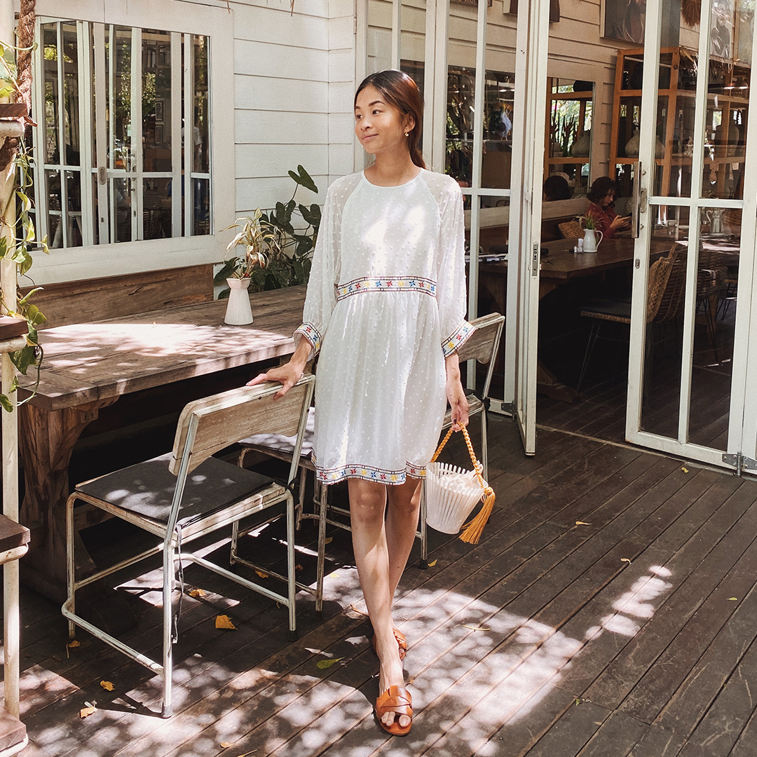 As seen on @bertillawong - Alesa Dotted Babydoll Dress in White
