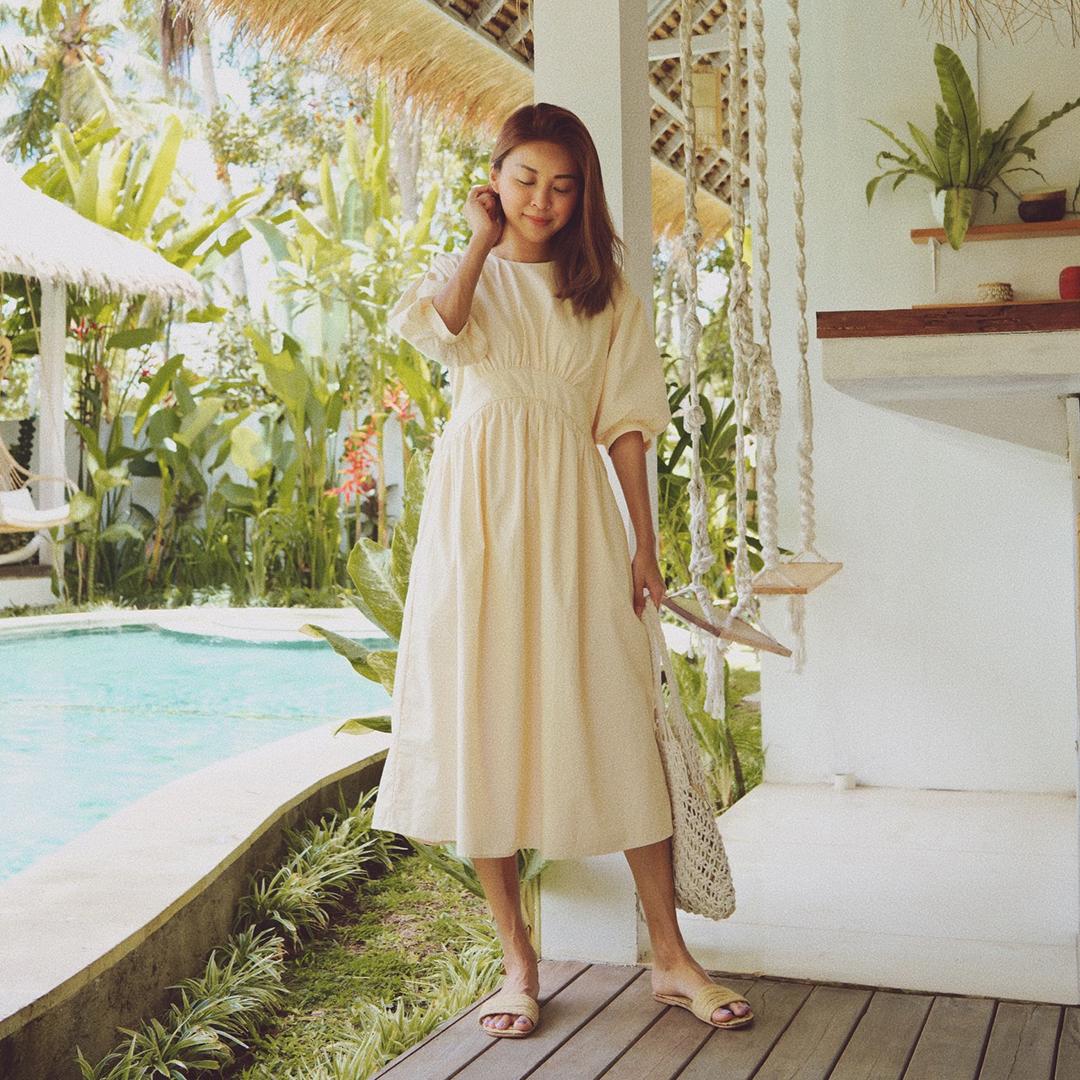 As seen on @briannawonggg - Marin Two Way Midi Dress in Cream