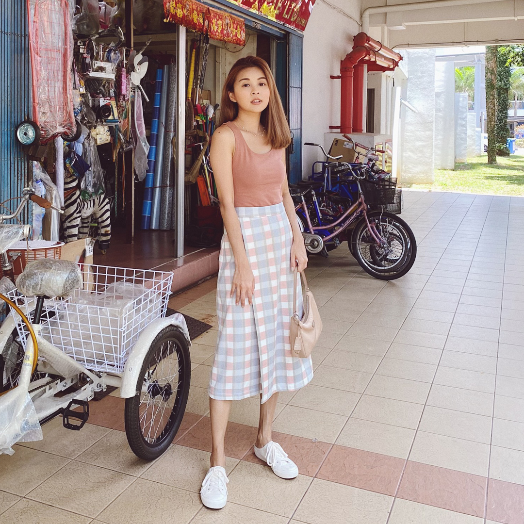 AS SEEN ON @briannawonggg - Cade Top in Sierra and Kario Plaids Midi Skirt