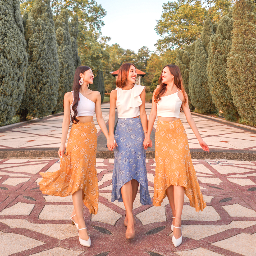 AS SEEN ON @dianaohy, @shuutravels, @lingweiix - CASSA RUFFLED MIDI SKIRT IN DANDELION AND CORNFLOWER BLUE