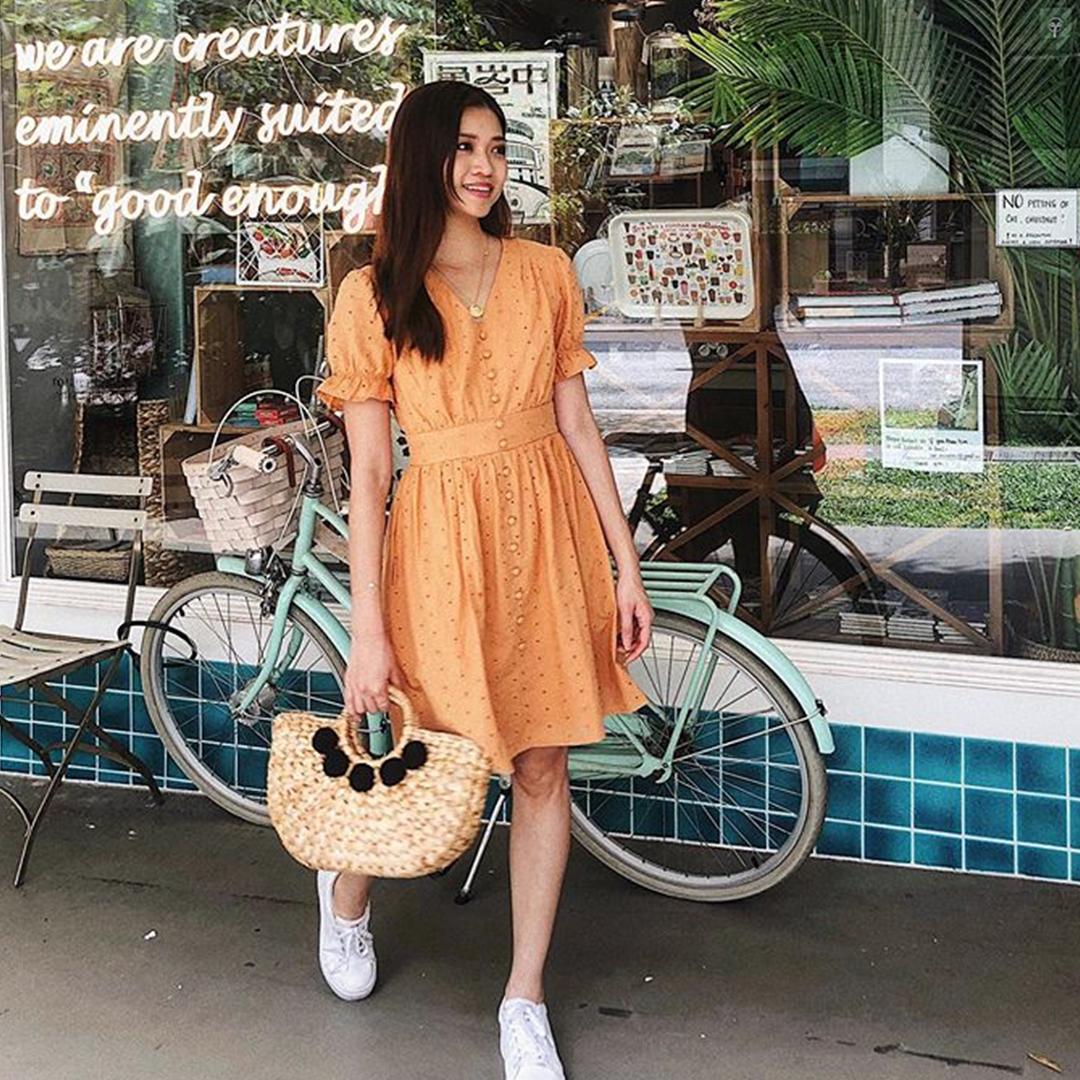 As seen on @vickiima - Carmela Eyelet Dress in Sunrise Orange