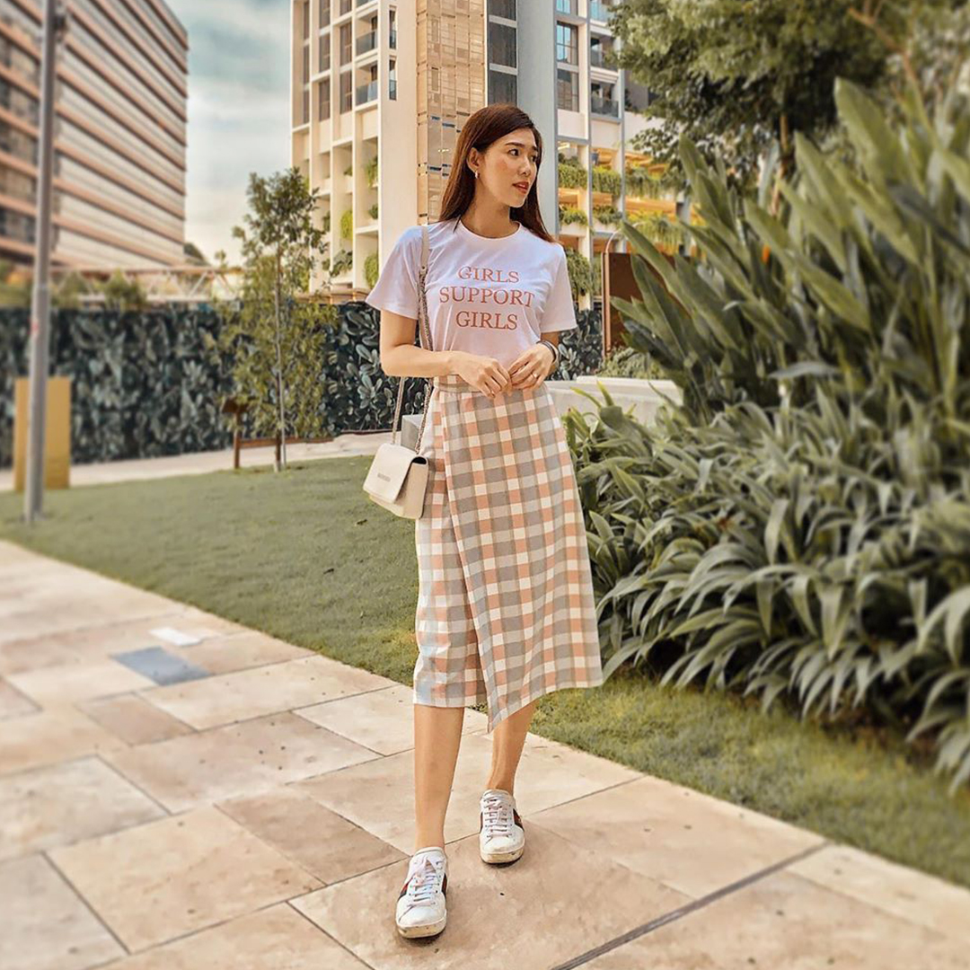AS SEEN ON @lianmeiting - Kario Plaids Midi Skirt