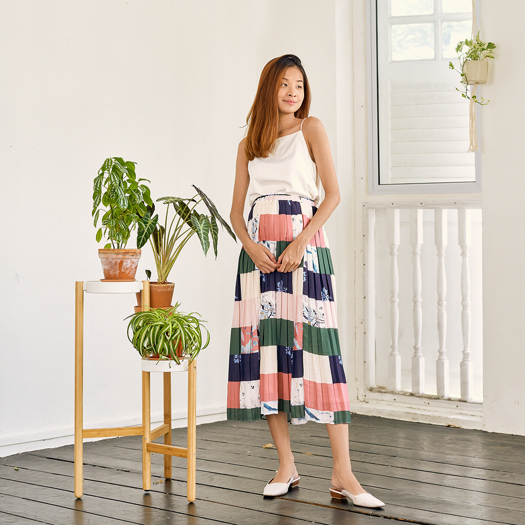 AS SEEN ON @bertillawong - Finola Pleated Midi Skirt
