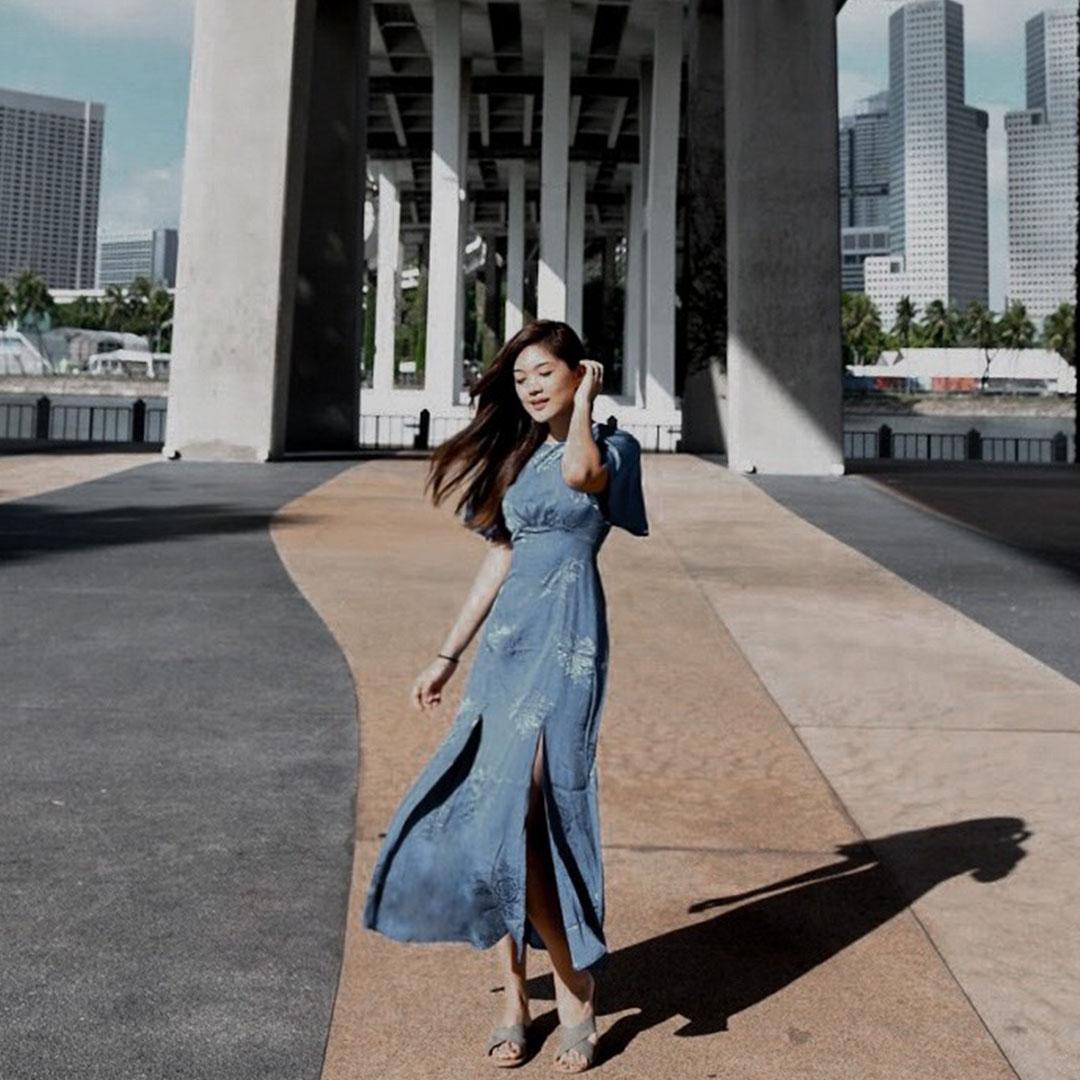 As seen on @manda.olivia - Giana Embossed Dress in Violet Blue