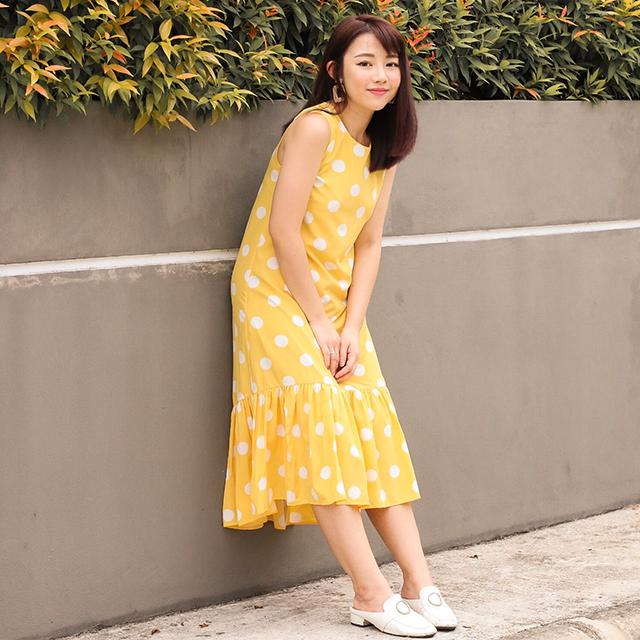 As seen on @carmen.layrynn - Rindley Polka Dotted Dropwaist Dress
