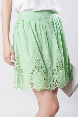TCL Crochet Hem Skirt in Apple Green