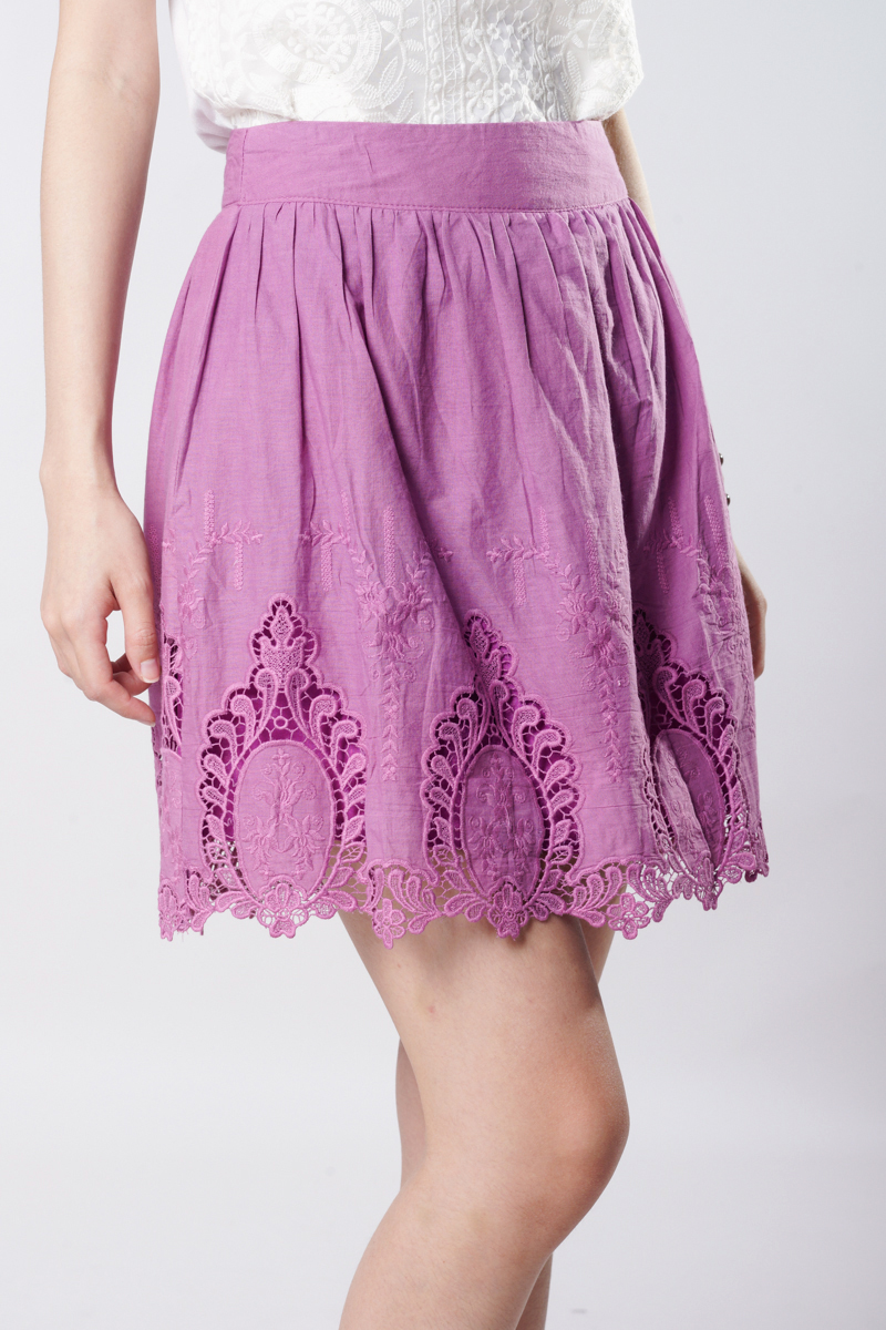 TCL Crochet Hem Skirt in Dusty Lavender