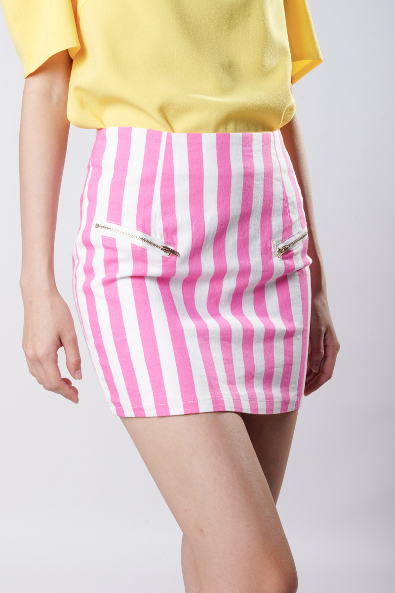 *Fab Find* TCL Zipped Stripe Skirt in Pink