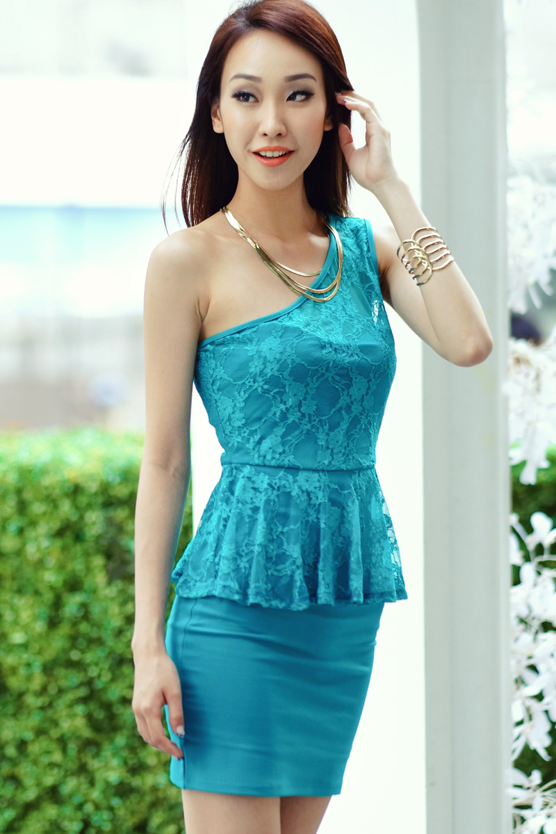 TCL Lace Indulgence Peplum Dress in Turquoise