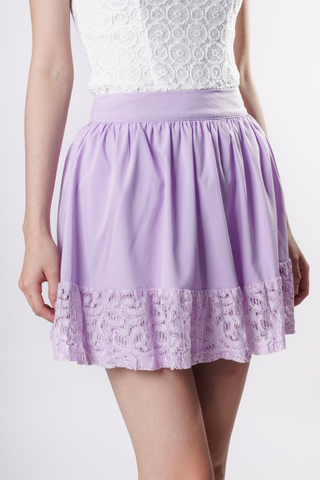 TCL Lyla Lace Crochet Skirt in Lilac