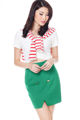 TCL Juleen Buttoned Skirt in Spring Green