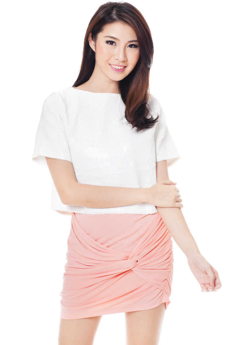 TCL Knotted Ruched Skirt in Peach Pink