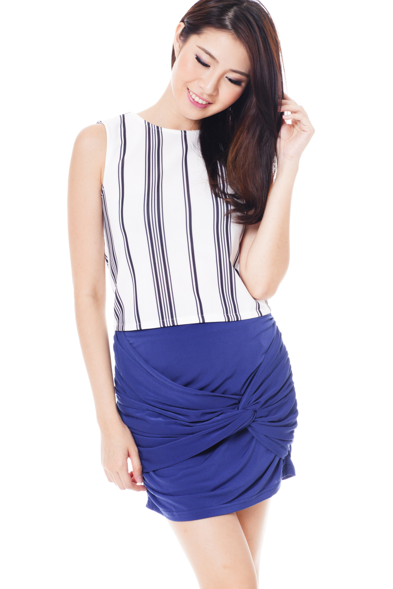 TCL Knotted Ruched Skirt in Blue