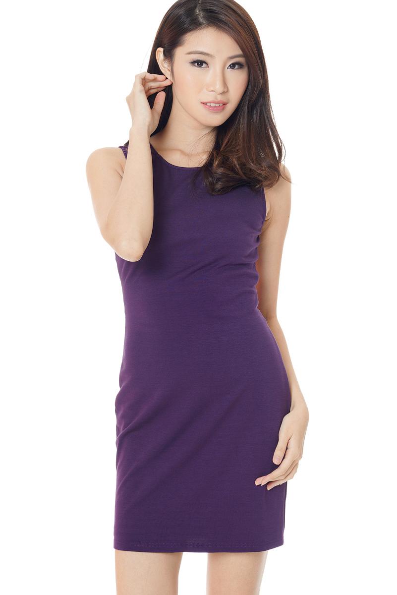 TCL Allure Lace Back Dress in Deep Purple