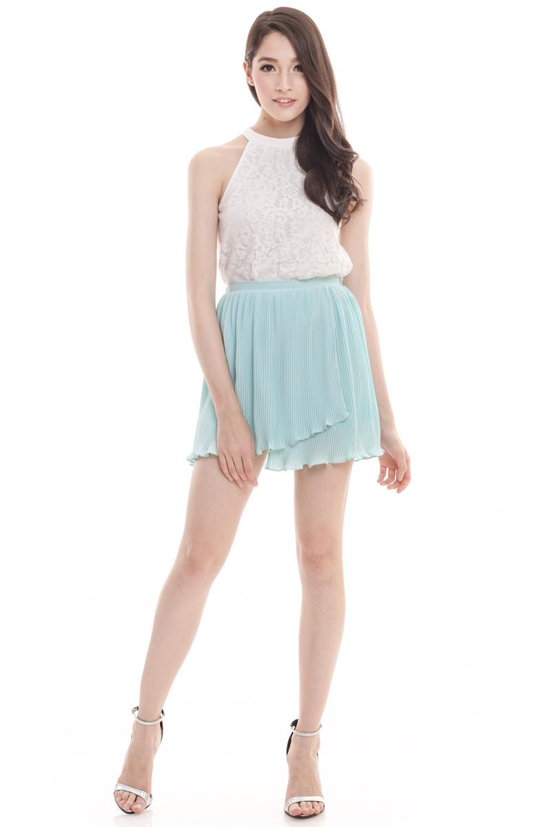 TCL Ladieu Pleats Skirt in Tiffany Mint