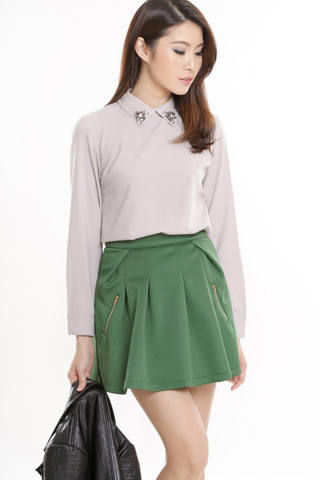 TCL Double Zipped Skirt in Green