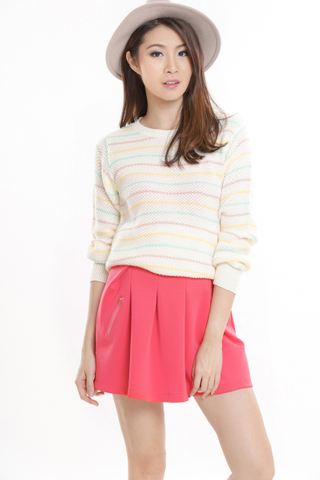 TCL Double Zipped Skirt in Coral