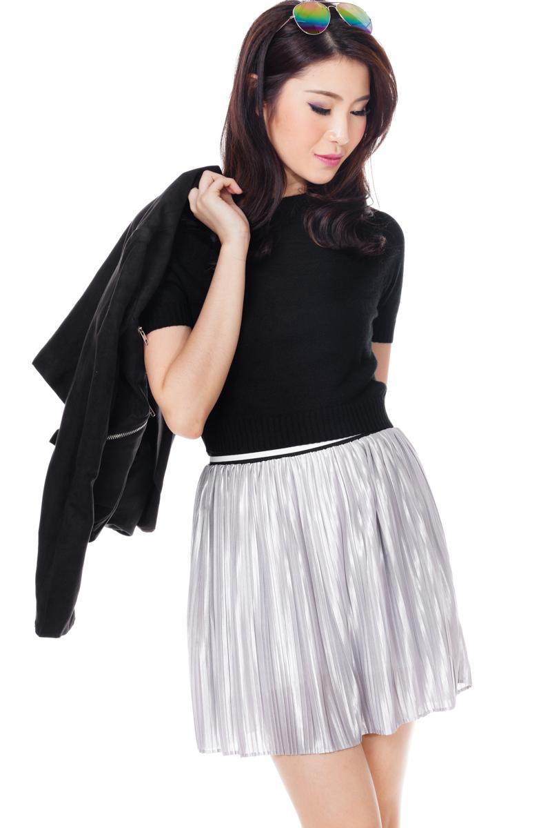 TCL Sporty Pleats Skirt in Silver