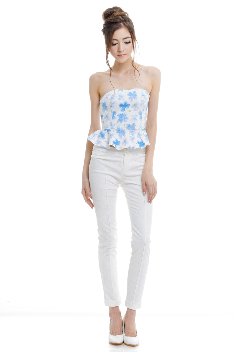 *Premium* TCL Floral Shades Tube Top in Blue