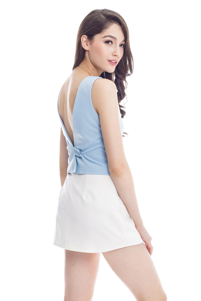 *Premium* TCL Verandah V-Back Top in Pastel Blue
