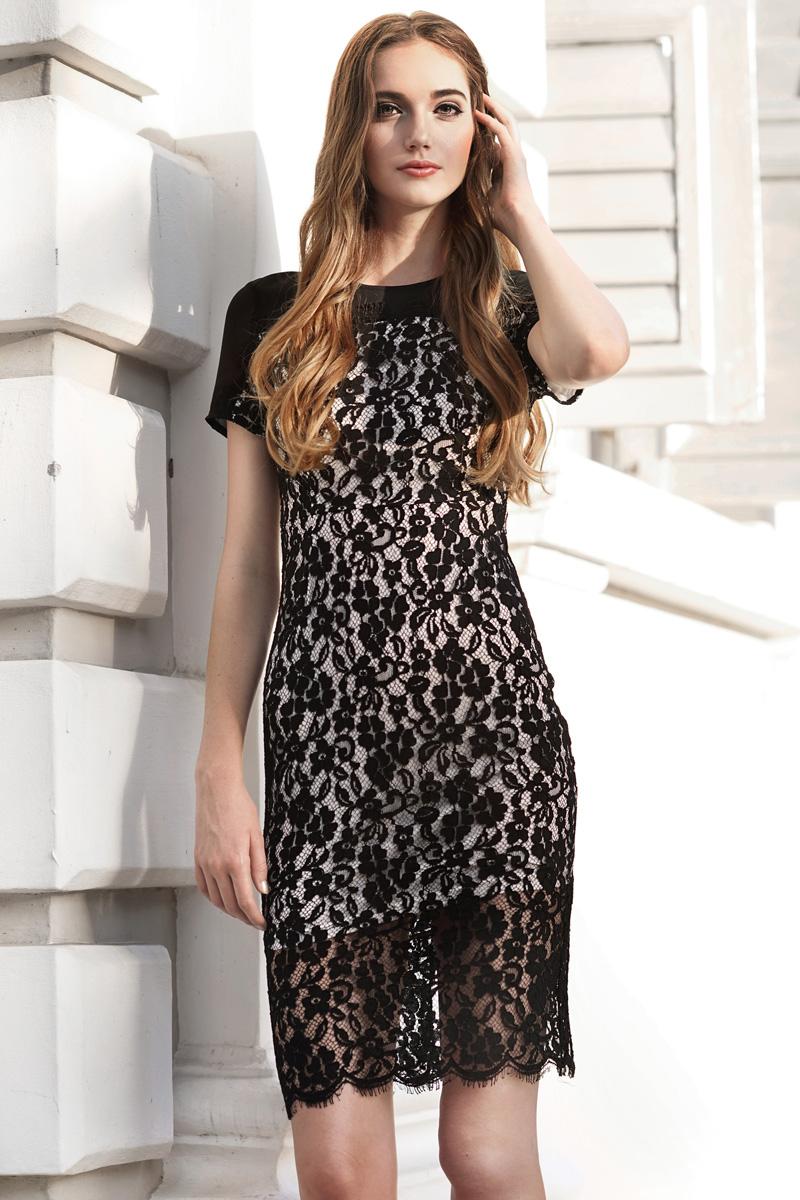*W. By TCL* Ellie Lace Midi Dress in Black