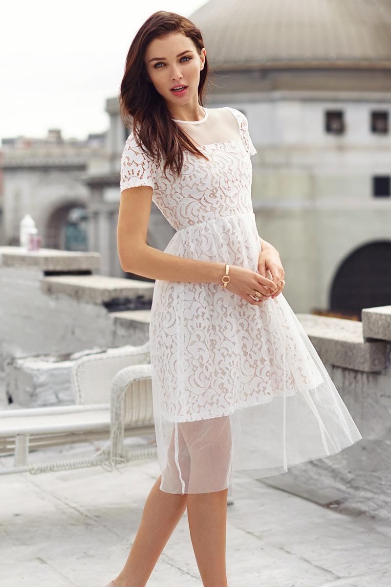 Dernise Tulle Dress in White
