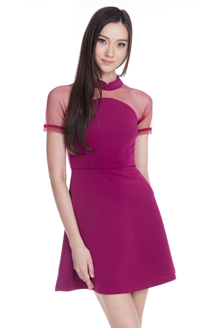 Curtley Mesh Skater Dress in Berry
