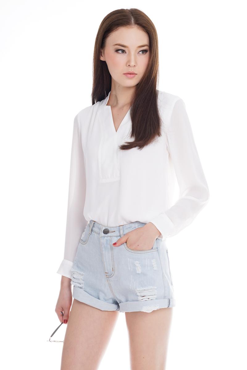 *Restock* Vetta Chiffon Shirt in White