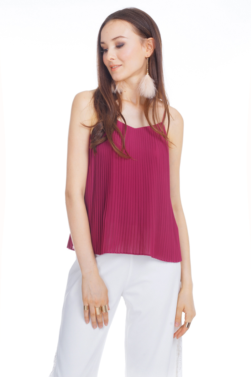 Kloss Pleated Top in Berry