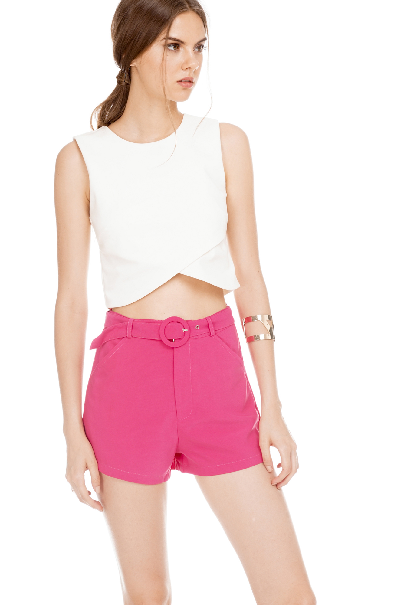 Morgan Belted Shorts in Hot Pink