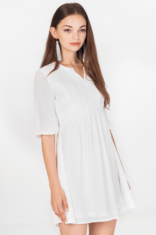 *Restock* Adela Babydoll Dress in White (XL)