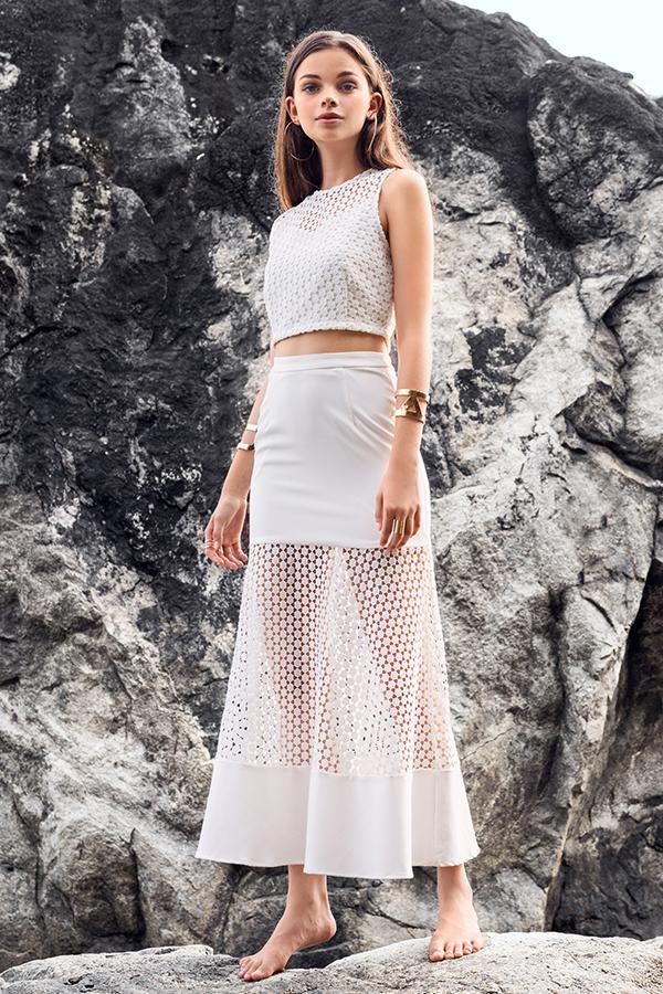 Marison Crochet Midi Skirt in White
