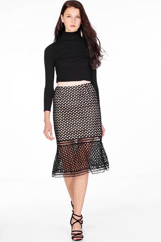 Adrelle Crochet Skirt in Black