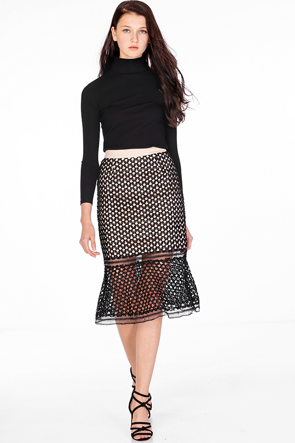 Adrelle Crochet Skirt in Black