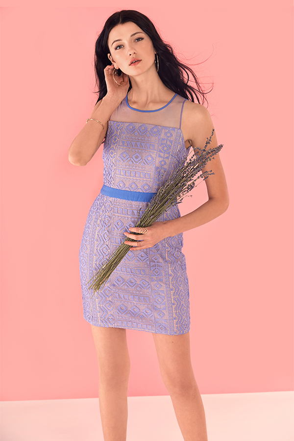 Natalye Crochet Dress in Periwinkle