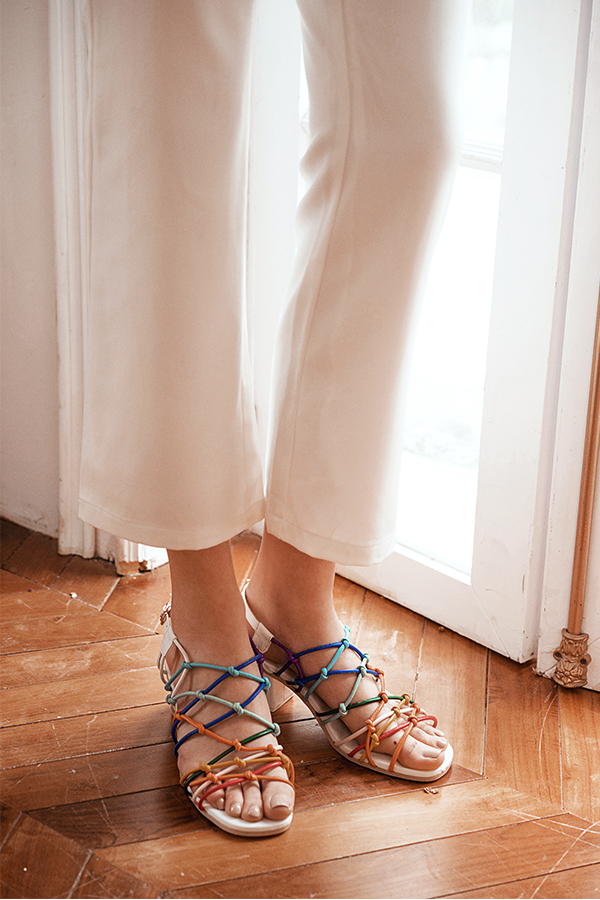 Chriselle Low Block Heels in Rainbow