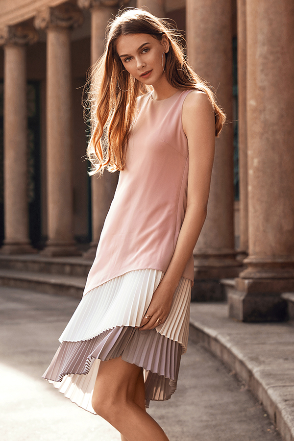 *Restock* Lenna Pleated Midi Dress in Pink