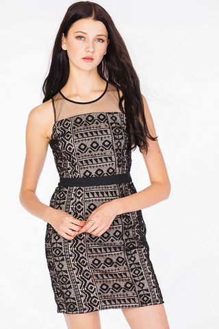 Natalye Crochet Dress in Black