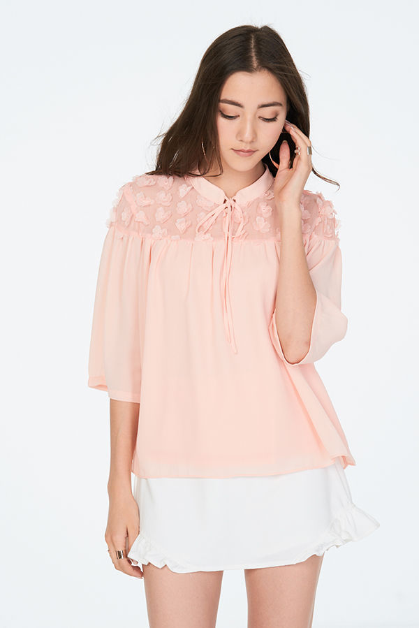 Chancy Rosette Blouse in Light Pink