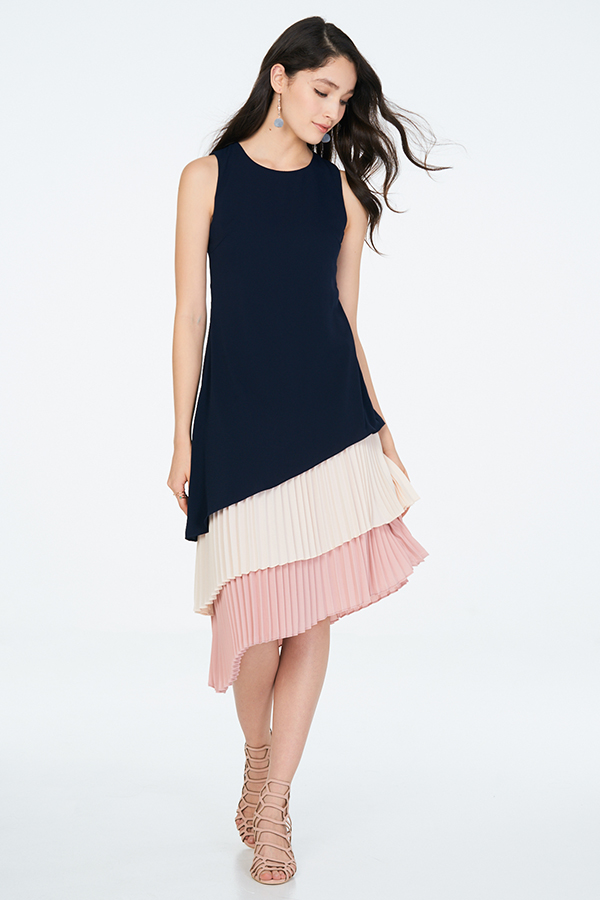 *Restock* Lenna Pleated Midi Dress in Navy