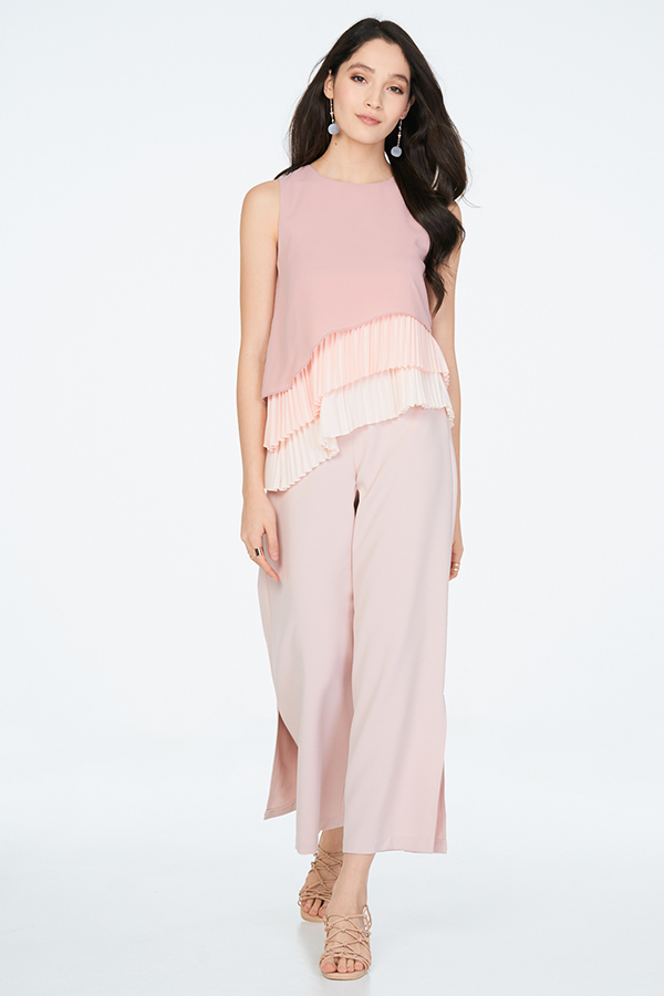 *Restock* Lenna Pleats Top in Pink