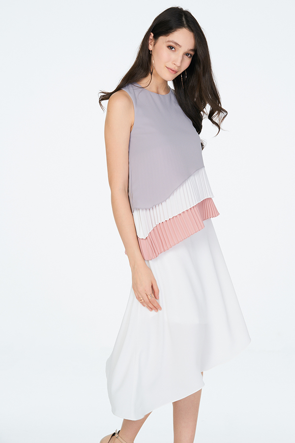 *Restock* Lenna Pleats Top in Grey