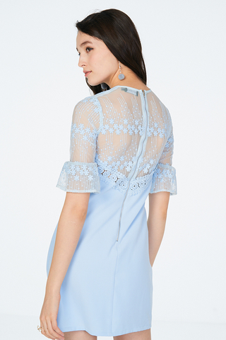 Hazelle Crochet Dress in Blue