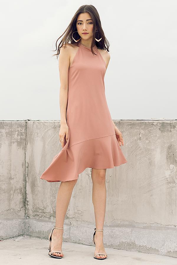 Palais Midi Dress In Dusty Rose