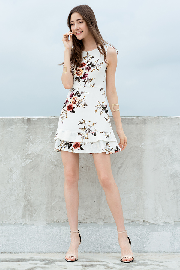 *Restock* Erin Floral Printed Dress in White